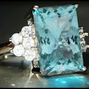 Jewelry - Aquamarine Ring 💍Sterling Silver CZ accents🆕